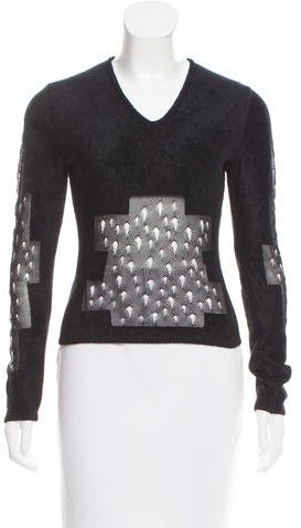 Christian Dior Textured Open Knit-Acccented Top