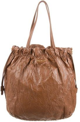 prada Prada Crinkled Leather Shoulder Bag