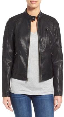 Women's Levi's Quilt Detail Faux Leather Racer Jacket $150 thestylecure.com