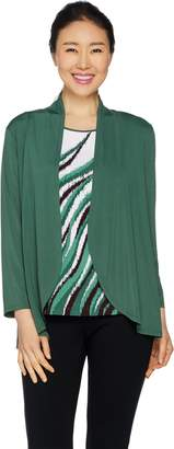Bob Mackie Jersey Knit Feather Print Tank and Solid Cardigan Set