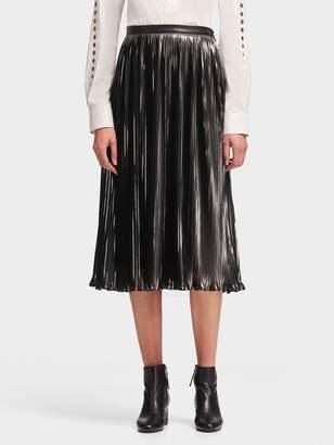 DKNY Pleated Metallic Midi Skirt