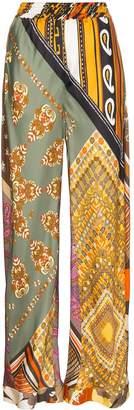 Chloé Loose fit floral print silk trousers