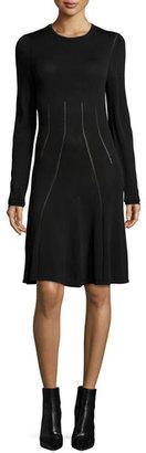 McQ Alexander McQueen Ergonomic Flirty Long-Sleeve Dress, Black $385 thestylecure.com