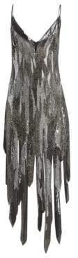 Amen Women's Sequin Fringe V-Neck Dress - Silver - Size 46 (10)
