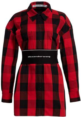 Alexander Wang Logo Elastic Belt Plaid Shirtdress