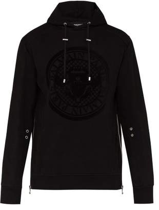 Balmain Medallion Logo Print Cotton Hooded Sweatshirt - Mens - Black