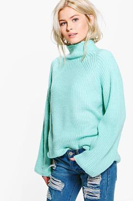 boohoo Daisy Funnel Neck Knitted Jumper $42 thestylecure.com