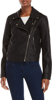 William Rast Black Faux Leather Moto Jacket
