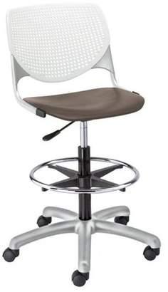 Kfi KFI KOOL Drafting Stool, White Back, Brownstone Seat