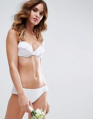 Asos DESIGN BRIDAL Pleated Frill Plunge Bikini Top