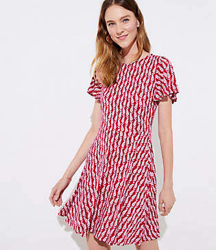 LOFT Paisley Flutter Flare Dress