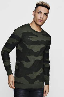 boohoo All Over Camo Jacquard Jumper In Muscle Fit