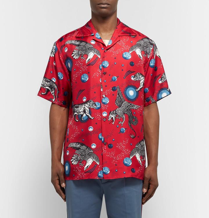 Gucci Space Animals Camp-Collar Printed Silk-Twill Shirt 5