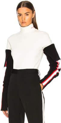 Calvin Klein Intarsia Stripe Trim Rib Knit Sleeves