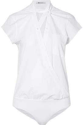 Alexander Wang Wrap-effect Cotton-poplin Bodysuit