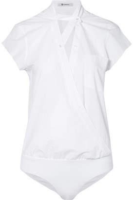 Alexander Wang Wrap-effect Cotton-poplin Bodysuit - White