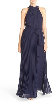 Women's Eliza J Pleated Chiffon A-Line Maxi Dress $158 thestylecure.com