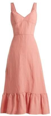 Rebecca Taylor Lace Up Back Linen Midi Dress - Womens - Pink