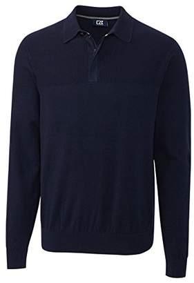 Cutter & Buck Men's Textured Jersey Cotton-Rich Lakemont Zip Polo Sweater