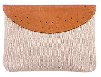 Delvaux Leather-Trimmed Canvas Clutch