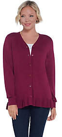 Joan Rivers Classics Collection Joan Rivers V-Neck Cardigan with Ruffle HemDetail