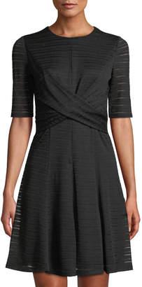 London Times Twist-Waist Fit-and-Flare Dress