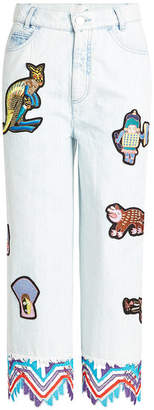 Peter Pilotto Embroidered Jeans with Patches