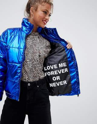 Noisy May high shine slogan padded jacket