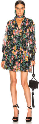 Zimmermann Allia Shirred Short Dress in Black Floral | FWRD