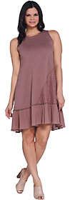 LOGO by Lori Goldstein Cotton Slub Tank Dressw/ Crochet Lace