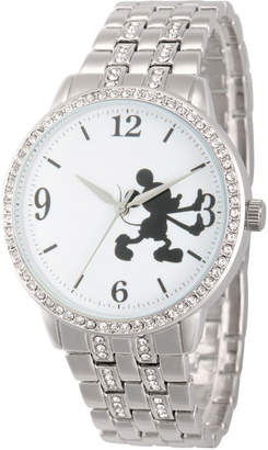 Disney Mickey Mouse Womens Silver Tone Bracelet Watch-Wds000385
