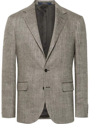 Polo Ralph Lauren Beige Polo 1 Herringbone Slub Linen And Silk-Blend Blazer