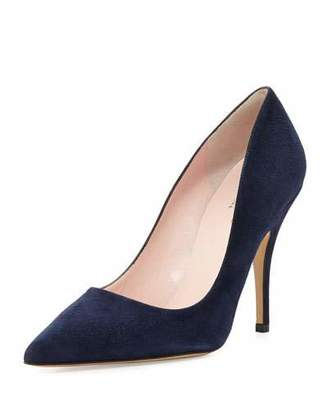 Kate Spade New York Licorice Suede Pointed-Toe Pump, Navy $298 thestylecure.com