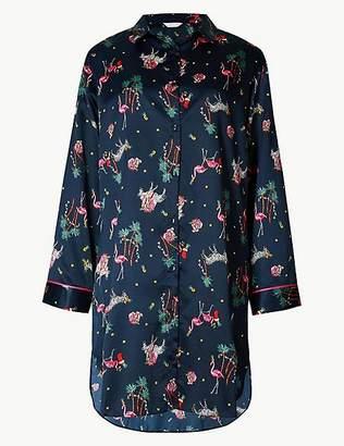 Marks and Spencer Safari Print Long Sleeve Nightshirt