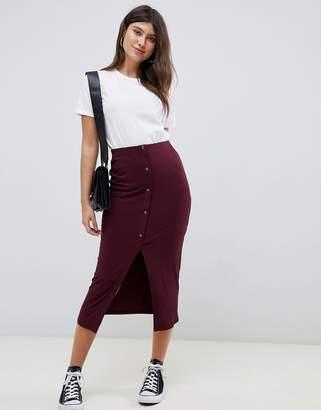 09ffd624889a ... Asos Design DESIGN rib popper midi skirt