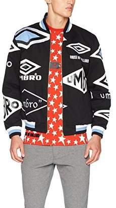House of Holland Men's's Umbro Logo Cotton Drill Jacket Bomber (Black/Multi), Small