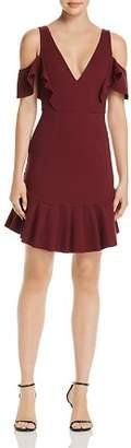 Aqua Cold-Shoulder Ruffle Stretch Mini Dress - 100% Exclusive