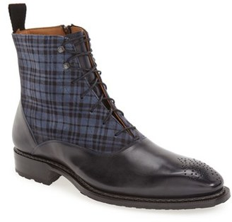Men's Mezlan 'Grimaldi' Medallion Toe Fabric Shaft Boot $450 thestylecure.com
