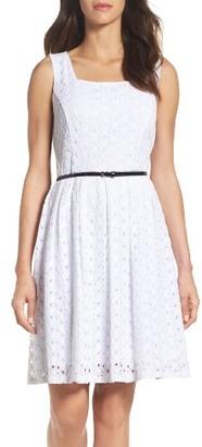 Women's Ellen Tracy Belted Fit & Flare Dress $128 thestylecure.com