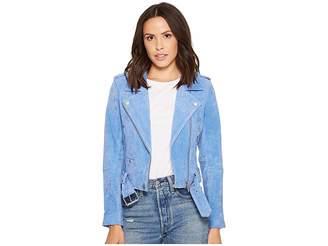 Blank NYC Real Suede Moto Jacket in Hydrangea Women's Coat