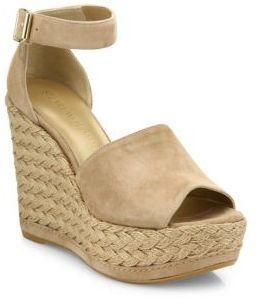 Stuart Weitzman Sohojute Suede Espadrille Wedge Sandals $455 thestylecure.com