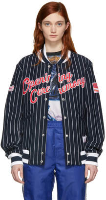 Opening Ceremony Navy and White Pinstripe Logo Varsity Bomber Jacket
