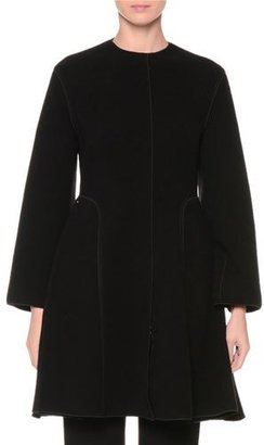 Giorgio Armani Textured Zip-Front Long Coat, Black $3,395 thestylecure.com