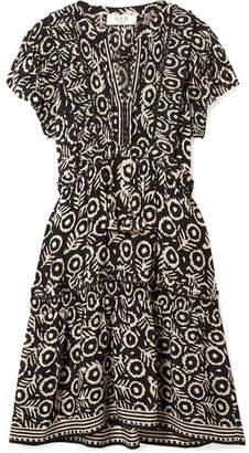 Sea Emi Ruffled Pintucked Printed Voile Dress - Black