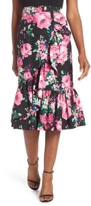 Eliza J Floral Ruffle Midi Skirt
