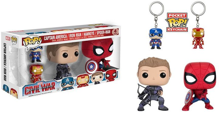 Funko Captain America: Civil War 4-pk. Funko POP! Bobble-Head & Keychain Set