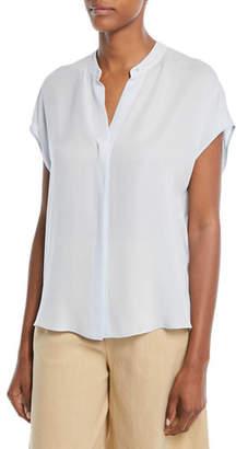 Vince Silk Split-Back Short-Sleeve Popover Top