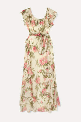Alice McCall Salvatore Ruffled Metallic Floral-print Chiffon Maxi Dress - Blush