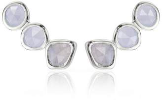 Monica Vinader Silver Blue Lace Agate Climber Earrings