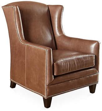 Massoud Furniture Lena Wingback Chair - Saddle Leather